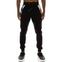 New Fashion Zip-Embellished Patchwork Drawstring Waist Cotton Fitness Sweatpants