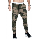 New Stylish Classic Camo Print Drawstring Waist Flap Pocket Side Velcro Embellished Dry-Fit Cotton Skinny Pencil Pants