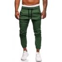 Mens Basic Fashion Plain Drawstring Waist Elastic Cuff Stretch Skinny Fit Pencil Pants