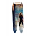 Cool 3D Film Figure Printed Drawstring Waist Cotton Sport Sweatpants