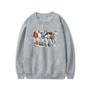 Beverly Hills 90210 Character Pattern Basic Round Neck Long Sleeve Loose Fit Sweatshirt