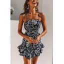 Womens Summer Stylish Floral Printed Cutout Back Ruffled Hem Mini Slip Dress