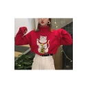 Cute Fortune Lucky Cat Cartoon Embroidery Ribbed High Neck Long Sleeves Loose Pullover Sweater