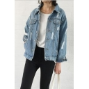 Distressed Lapel Collar Long Sleeve Button Closure Vintage Denim Jacket