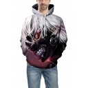 3D Comic Figure Print Basic Long Sleeve Sport Casual Unisex Purple Hoodie