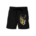Lion Pattern Drawstring-Waist Dry-Fit Sport Casual Black Relaxed Active Shorts