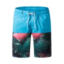 Summer Tropical Forest Printed Casual Loose Drawstring Mens Beach Shorts with Pockets