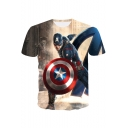 The Avengers 3D Cool Film Figure Printed Short Sleeve Basic T-Shirt