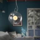 Clear Glass Orb Shade Pendant Lighting 1 Light Modern Hanging Light in Chrome
