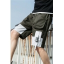 Guys Summer New Stylish Fashion Buckle Ribbon Colorblock Casual Relaxed Cargo Shorts