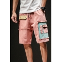 Guys New Trendy Vintage Style Frayed Hem Patchwork Drawstring Waist Denim Shorts Cargo Shorts