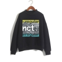 Fashion Letter Mock Neck Long Sleeve Relaxed Pullover Sweatshirt