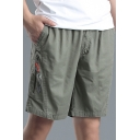 Men's Summer Comfortable Cotton Fashion Zip-Pocket Loose Fit Relaxed Shorts