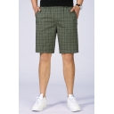 Men's Elastic Waist Fashion Plaid Printed Zip-Pocket Washed Cotton Casual Chino Shorts