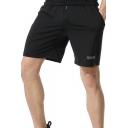 Men's Simple Fashion Reflect Light Checkerboard Quick-Dry Sport Black Soccer Shorts