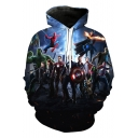 The Avengers 3D Figure Print Blue Pullover Drawstring Hoodie
