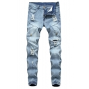 Guys Cool Holey Button-Embellished Patchwork Elastic Cuff Ripped Skinny Fit Jeans in Light Blue