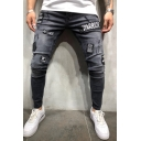 Men's Cool Street Letter WARRIOR Badge Patched Grey Skinny Fit Jeans