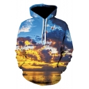 New Stylish Cloud Sky 3D Printed Relaxed Fit Blue Hoodie