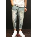 Guys Summer Vintage Distressed Ripped Light Blue Tapered Jeans