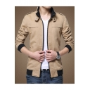 Popular Slim Long Sleeve Cotton Stand Collar Epaulets Leisure Zip Up Wash Jacket