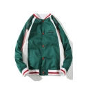New Style Button Closure Color Block Embroidered Letter Pattern Stand Collar Unisex Baseball Jacket
