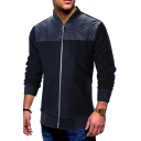 Navy Long Sleeve Stand Collar Lattice Print PU Patched Zipper Jacket for Men