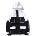 Unisex Black and White Button Closure Colorblocked Letter Print Multi-Pockets Loose Hoodies Work Jacket