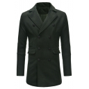 Popular Notched Lapel Collar Double-Breasted Plain Casual Mid-Length Men's Fitted Woolen Peacoat