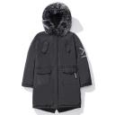 Men's Black Fur-Trimmed Hood Concealed Zip Closure Fashion Pockets Letter Embellished Cotton Padded Coat
