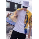 Chinese Style Dragon Printing Half Sleeve Retro Cardigan Kimono Cardigan Coat for Men