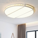 Eye Protection Ultra Thin Lighting Fixture with Crystal Modern Chic Acrylic LED Flush Mount in White