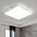 Oblong LED Flushmount with White Metal Shade Modernism Ceiling Fixture for Living Room Bedroom