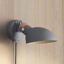 Nordic Simple Dome Wall Lighting Metallic 1-Light Mini Wall Lamp with Pull Chain for Bedside