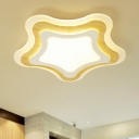 Multi Tiers Star Flush Mount Lighting Nordic Style Children Room Wooden Surface Mount LED Light