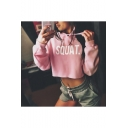 Simple Street Letter SQUAT Pattern Long Sleeve Casual Cropped Hoodie