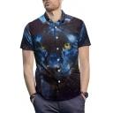 Summer Cool Leopard Printed Men Street Fashion Short Sleeve Blue Shirt