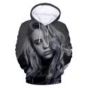 American Singer-Songwriter 3D Portrait Printed Casual Sport Black Hoodie