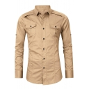 Men's Cool Outdoor Simple Plain Long Sleeve Double-Pocket Fitted Cotton Button-Up Military Shirt