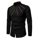 Cool Unique Radiate Gold Line Stand-Collar Long Sleeve Men's Slim Fitted Button-Up Shirt