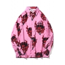 Hot Sale Cool Allover Monster Pattern Long Sleeve Unisex Oversized Button-Front Shirt