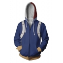 3D Printed Cosplay Costume Full Zip Loose Fitted Blue Hoodie