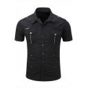 Men's Cool Shoulder Strap Double Flap Pocket Short Sleeve Simple Plain Button-Up Slim Cotton Military Shirt