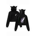 Marshmello Funny Hobby Horse Printed Cute Cat Ear Design Long Sleeve Casual Crop Hoodie