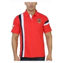 New Trendy Vertical Striped Short Sleeve Casual Sport Logo Chest Golf Polo for Men