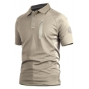 Men's Cool Simple Plain Fashion Zip Embellished Short Sleeve Quick-Dry Military Polo Shirt