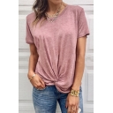 Summer New Fashion Simple Plain Knot Hem Short Sleeve Loose Fit T-Shirt
