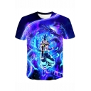 Cool 3D Comic Figure Print Short Sleeve Round Neck T-Shirt