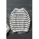 New Fashion Simple Letter Classic Stripe Printed Long Sleeve Relaxed Fit Cotton Sweatshirt