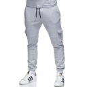 New Trendy Simple Plain Drawstring Waist Flap Pocket Side Cotton Sport Sweatpants for Men